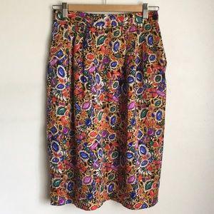 VTG Talbots 80s Bling High Waisted Silk Skirt S